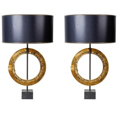 Pair of Brutalist Table Lamps in the Style of Curtis Jere