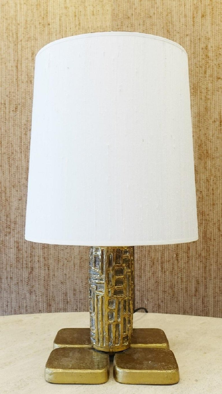 Late 20th Century Pair of Brutalist Table Lamps Luciano Frigerio for Frigerio, Italy, 1970s For Sale