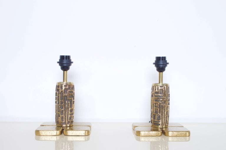 Mid-Century Modern Pair of Brutalist Table Lamps Luciano Frigerio for Frigerio, Italy, 1970s For Sale