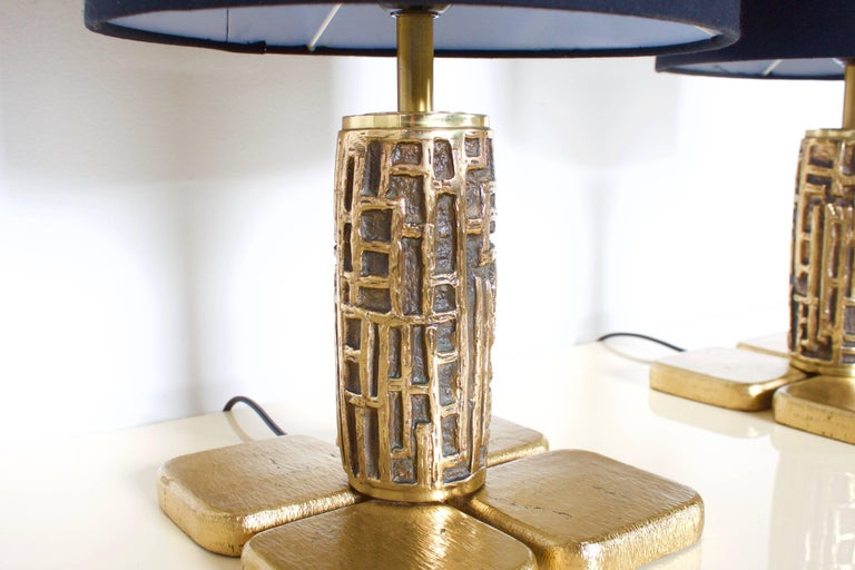 Italian Pair of Brutalist Table Lamps Luciano Frigerio for Frigerio, Italy, 1970s For Sale