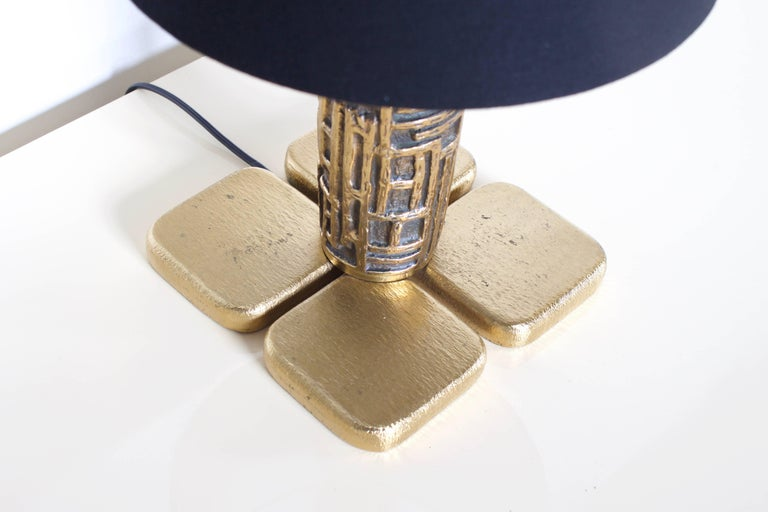 Bronze Pair of Brutalist Table Lamps Luciano Frigerio for Frigerio, Italy, 1970s For Sale