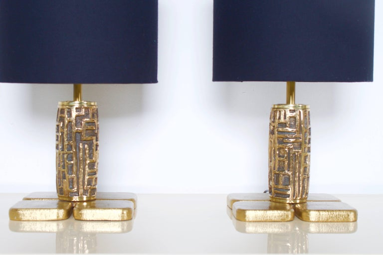Pair of Brutalist Table Lamps Luciano Frigerio for Frigerio, Italy, 1970s For Sale 1
