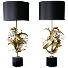 Pair of Brutalist Torch Cut Metal Lamps by Laurel Lamp Co., 1968