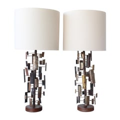 Pair of Brutalist Torch-Cut Table Lamps, U.S.A, 1960s