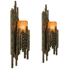 Pair of Brutalist Wall Scones with Murano Glass by Marcello Fantoni, 1960s