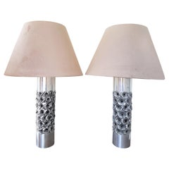 Pair of Brutalist Willy Luyckx Table Lamps, 1970s