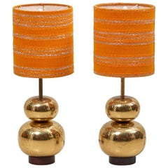 Pair of Bubble Brass 1970s Table Lamps with Original Shades