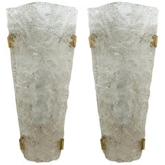 Pair of Bubble Glass Sconces or Wall Sconces by Hillebrand, 1960s