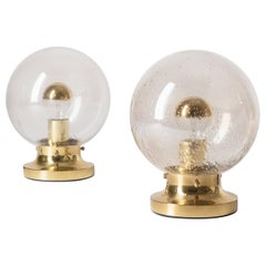 Pair of Bubble Glass Table Lamps by Limburg, 1970s