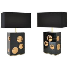 Pair of Bubble Table Lamps in Brass with Colored Mirrors, Handmade in Italy