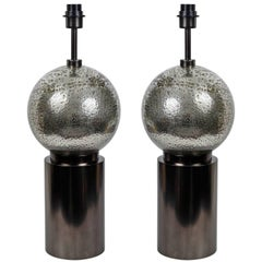 Pair Of Bubbled Glass Table Lamps