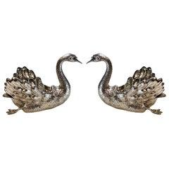 Pair of Buccellati Italian Sterling Silver Large Swan Bowls