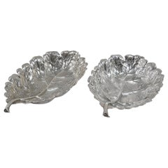 Pair of Buccellati Sterling Silver Oak Leaf Dishes