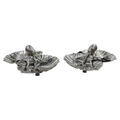 Pair of Buccellati Sterling Silver Octopus Seafood Shell Bowls