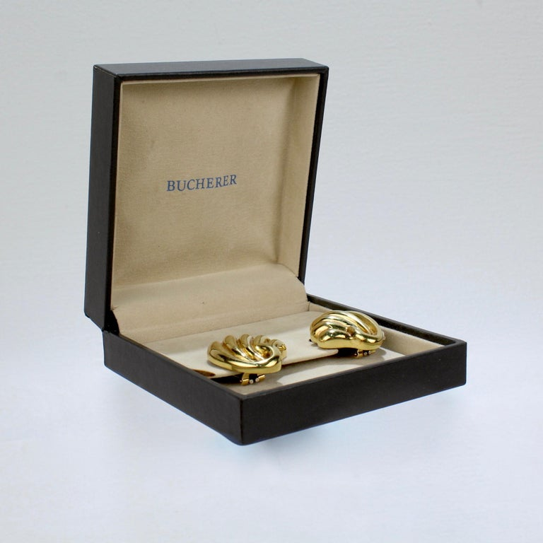Pair of Bucherer 18 Karat Gold Fan Shaped Clip Earrings In Good Condition For Sale In Philadelphia, PA