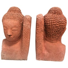 Pair of Buddha Heads Terracota Bookends