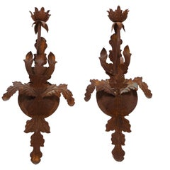 Pair of Budding Flower Wrought-Iron Sconces, 20th Century