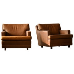 Pair of Buffalo Leather Lounge Chairs by Arne Norell Scandinavian Midcentury