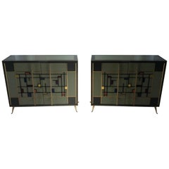 Pair of Buffets in Tinted Glass with Two Doors