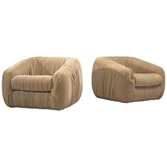 Pair of Bulky Airbone Lounge Chairs in Beige Velvet Upholstery
