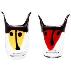 Pair of Bull Vases / Sculptures Glass, Erik Höglund Sweden, 1992 Red, Yellow