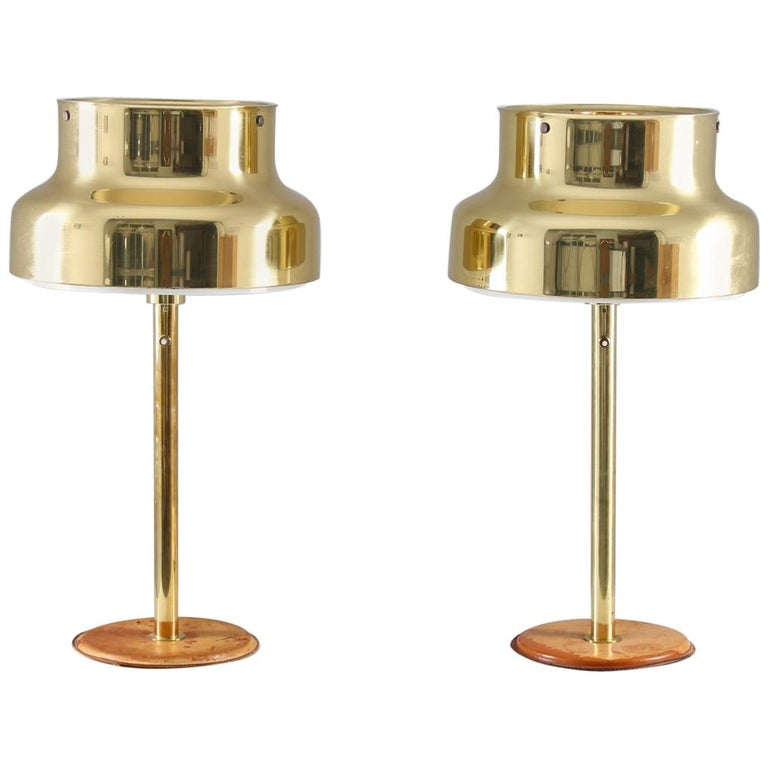 """Pair of """"Bumling"""" Table Lamps in Brass and Leather by Ateljé Lyktan For Sale"""