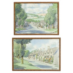 Pair of Burford Watercolours by Robert G. Upton