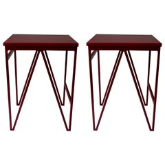 Pair of Burgundy Color Play Steel Stools