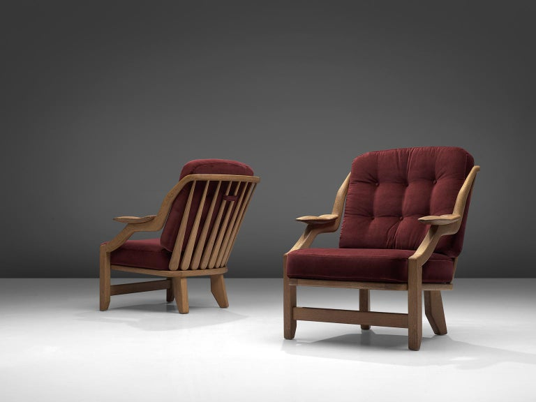 French Pair of Burgundy Guillerme and Chambron Lounge Chairs For Sale