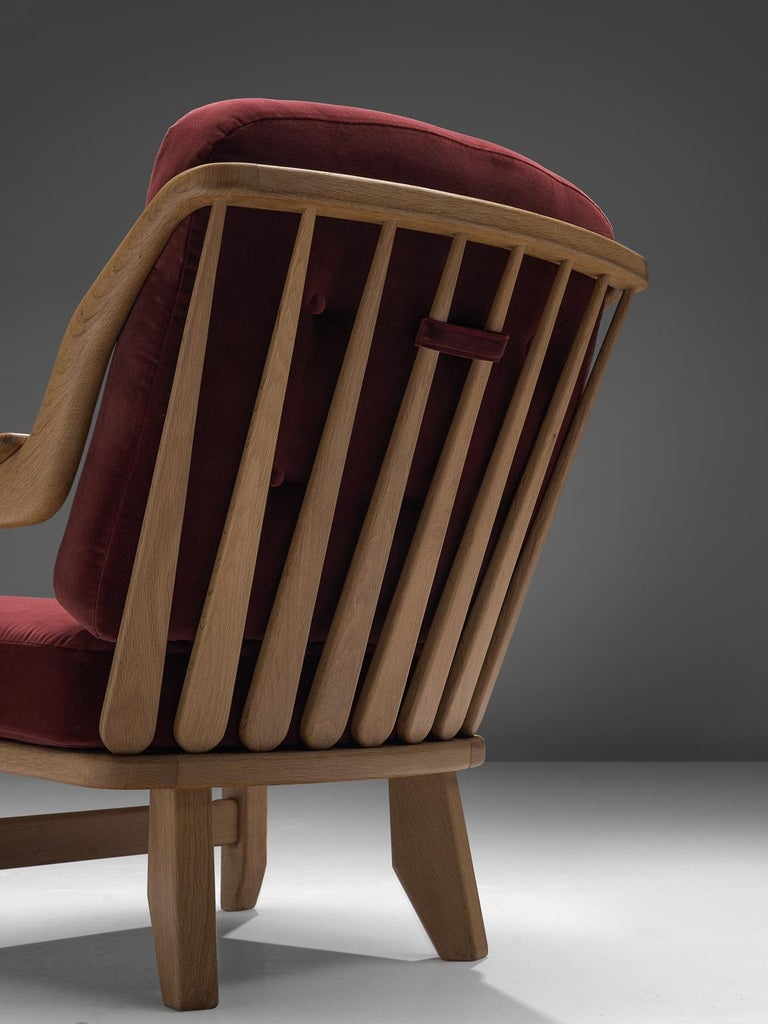 Pair of Burgundy Guillerme and Chambron Lounge Chairs In Good Condition For Sale In Waalwijk, NL