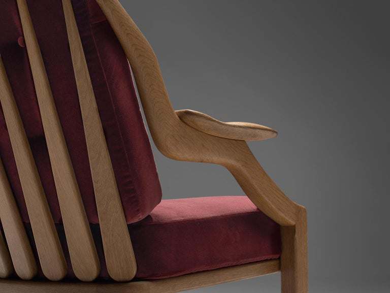 Mid-20th Century Pair of Burgundy Guillerme and Chambron Lounge Chairs For Sale