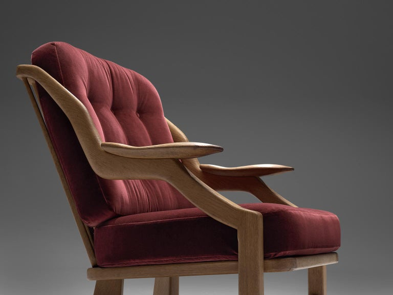 Fabric Pair of Burgundy Guillerme and Chambron Lounge Chairs For Sale