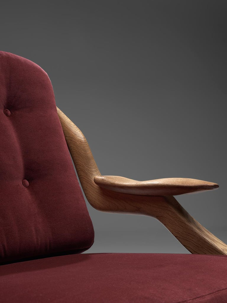 Pair of Burgundy Guillerme and Chambron Lounge Chairs For Sale 1