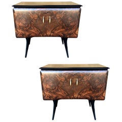Pair of Burl Front Nightstands Attributed to Vittorio Dassi