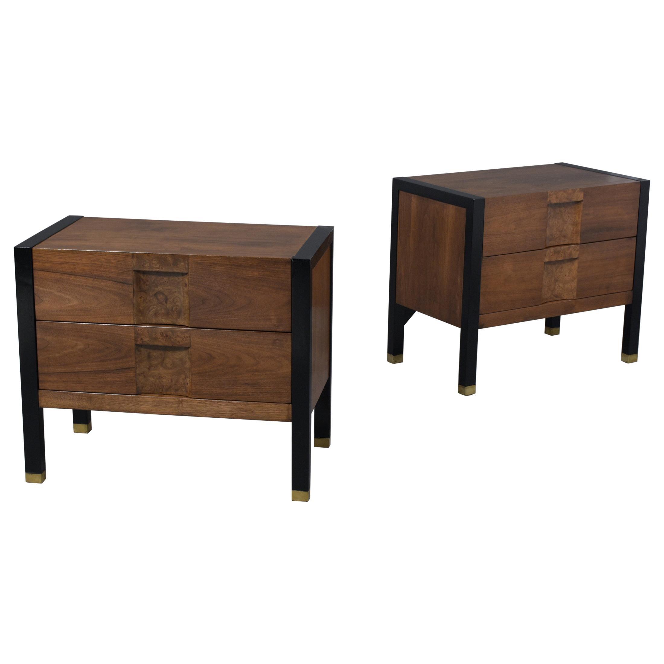 Pair of Burl Mid-Century Nightstands