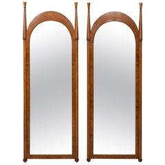 Pair of Burl Walnut Mirrors