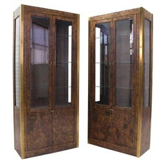 Pair of Burl Wood, Brass and Glass Showcase Curio Cabinets