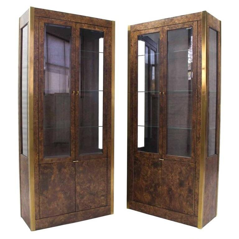 Display Kitchen Cabinets For Sale: Pair Of Burl Wood, Brass And Glass Showcase Curio Cabinets