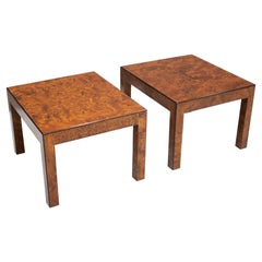 Pair of Burl Wood Side or End Tables, 1970s