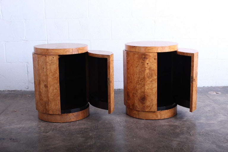 Pair of Burled Olive Dunbar Pedestal Table/ Bars by Edward Wormley 6