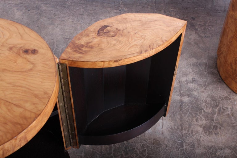 Pair of Burled Olive Dunbar Pedestal Table/ Bars by Edward Wormley 7