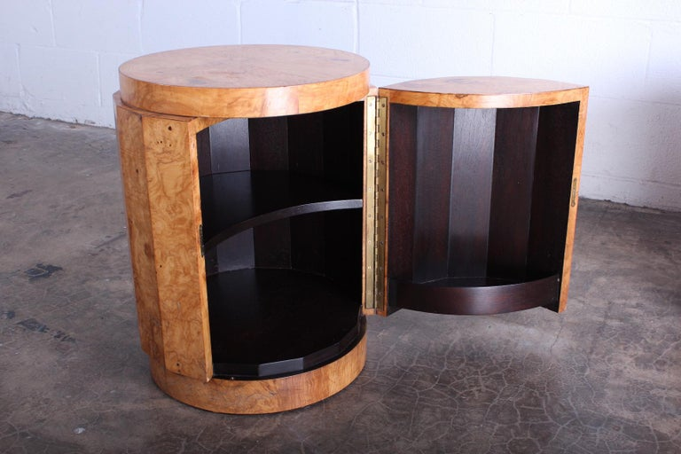 Pair of Burled Olive Dunbar Pedestal Table/ Bars by Edward Wormley 9