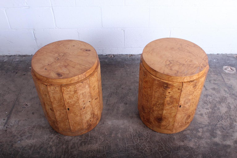 Pair of Burled Olive Dunbar Pedestal Table/ Bars by Edward Wormley 2