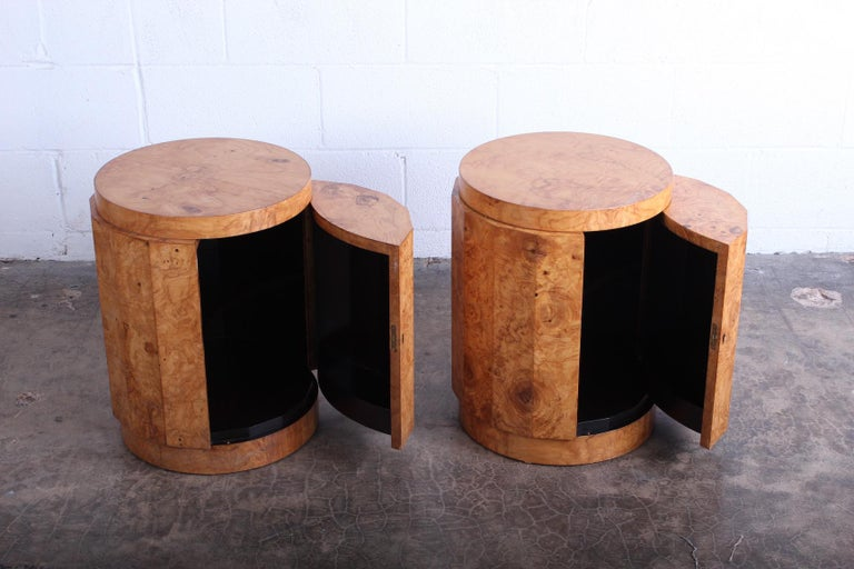 Pair of Burled Olive Dunbar Pedestal Table/ Bars by Edward Wormley 5
