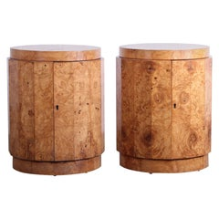 Pair of Burled Olive Dunbar Pedestal Table/ Bars by Edward Wormley