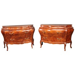 Pair of Burled Walnut Bombe Rococo Italian Commodes Nightstands, circa 1960