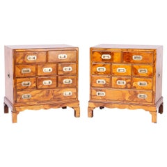 Pair of Burled Walnut Campaign Style Chests