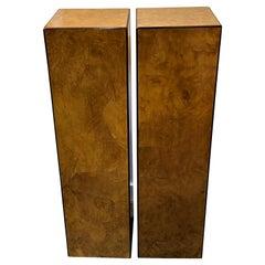 Pair of Burlwood Pedestals by Drexel Furniture