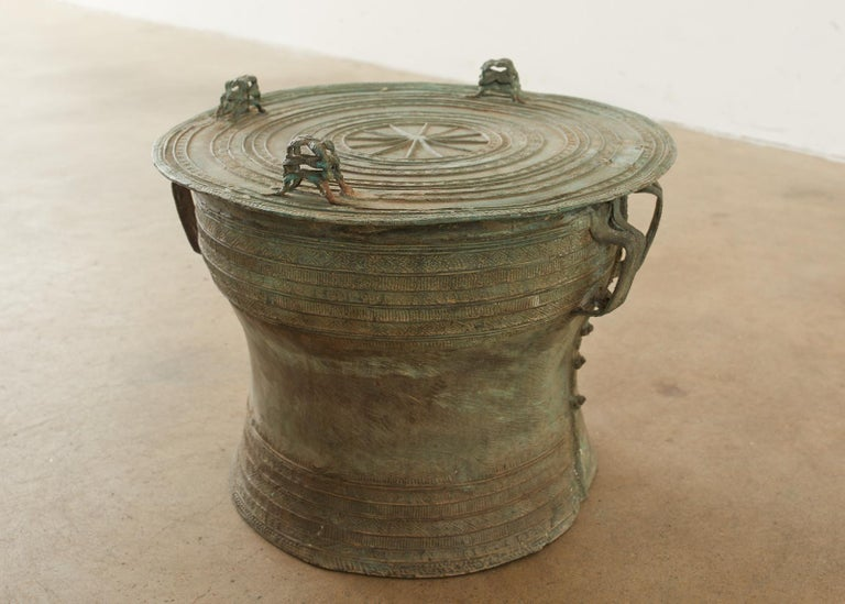 Pair of Burmese Bronze Rain Drum Drink Tables For Sale 4