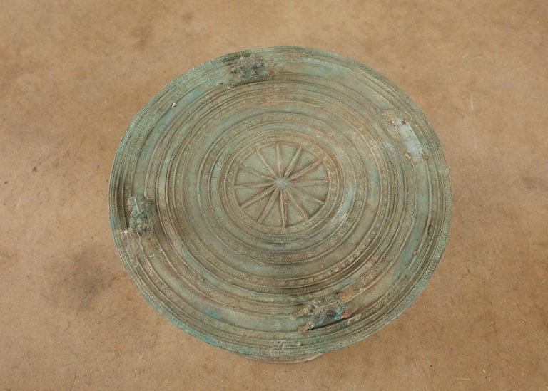 Pair of Burmese Bronze Rain Drum Drink Tables For Sale 5